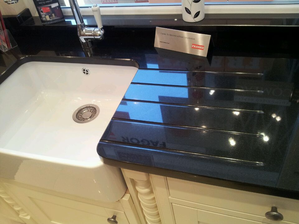 Absolute Black Granite With Belfast Sink Cutout And Straight Drainer Grooves