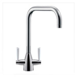 Franke Eiger U-Spout Tap with White Levers - Silksteel
