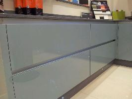 compac titaneo grey mirror chip quartz worktops