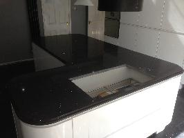 Nero Star Quartz Worktops with Belcast Edge