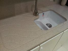 samsung cream quartz with panel drainer and ceramic undermount sink